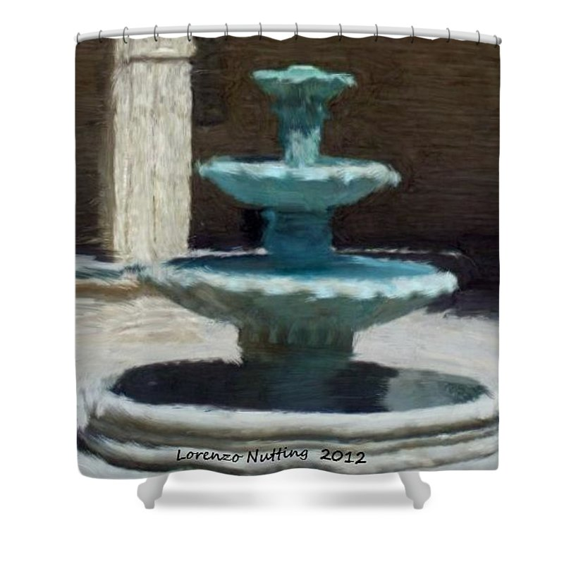 Fountain Shower Curtain featuring the painting Fountain In Ecija by Bruce Nutting