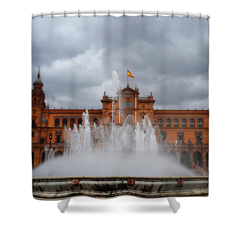 Seville Shower Curtain featuring the photograph Fountain On Plaza De Espana. Seville by Jenny Rainbow