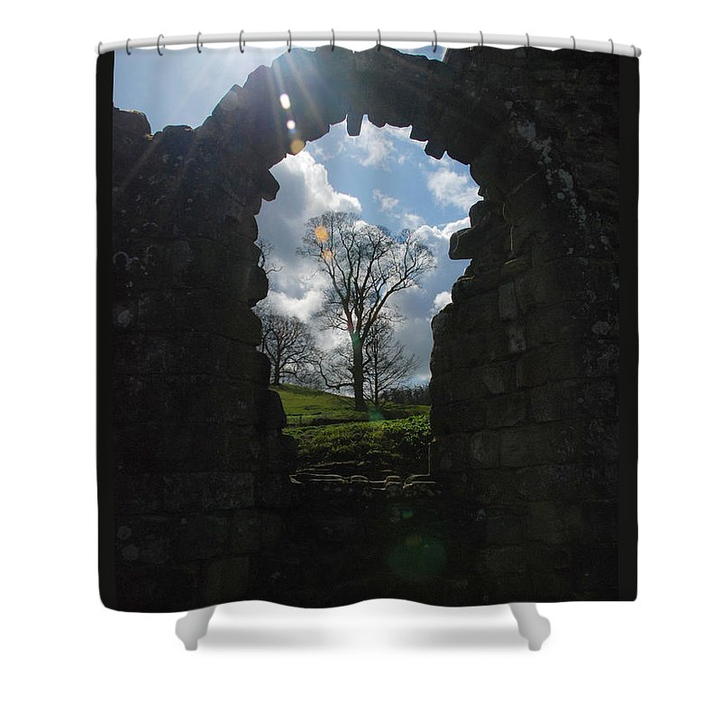 Fountains Abbey Yorkshire Uk Stone Wall Window Sun Ray Tree Arch Shower Curtain featuring the photograph Fountains Abbey by Richard Gibb
