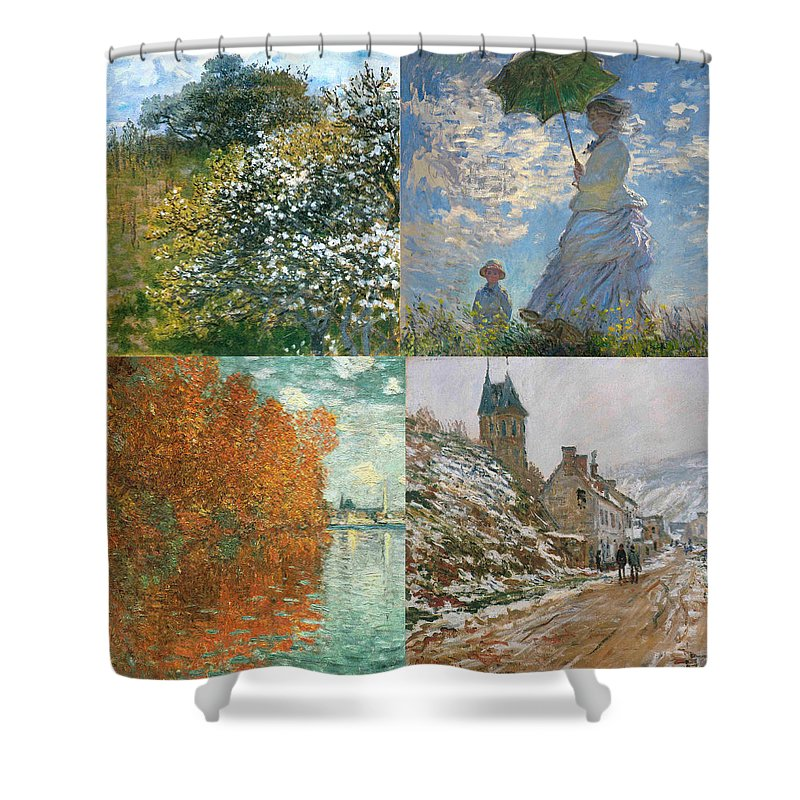 Monet Shower Curtain featuring the painting Four Seasons A Collage Of Monets by Philip Ralley