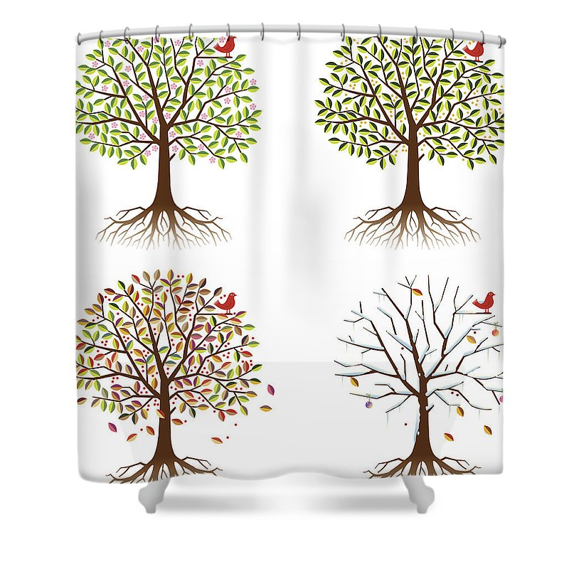 Environmental Conservation Shower Curtain featuring the digital art Four Seasons In One Tree by Johnwoodcock