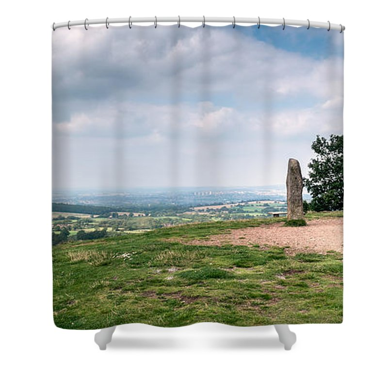 Clent Hills Shower Curtain featuring the photograph Four Standing Stones On The Clent Hills by Ann Garrett