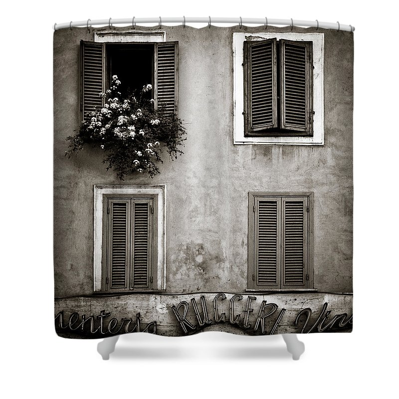 Rome Shower Curtain featuring the photograph Four Windows by Dave Bowman