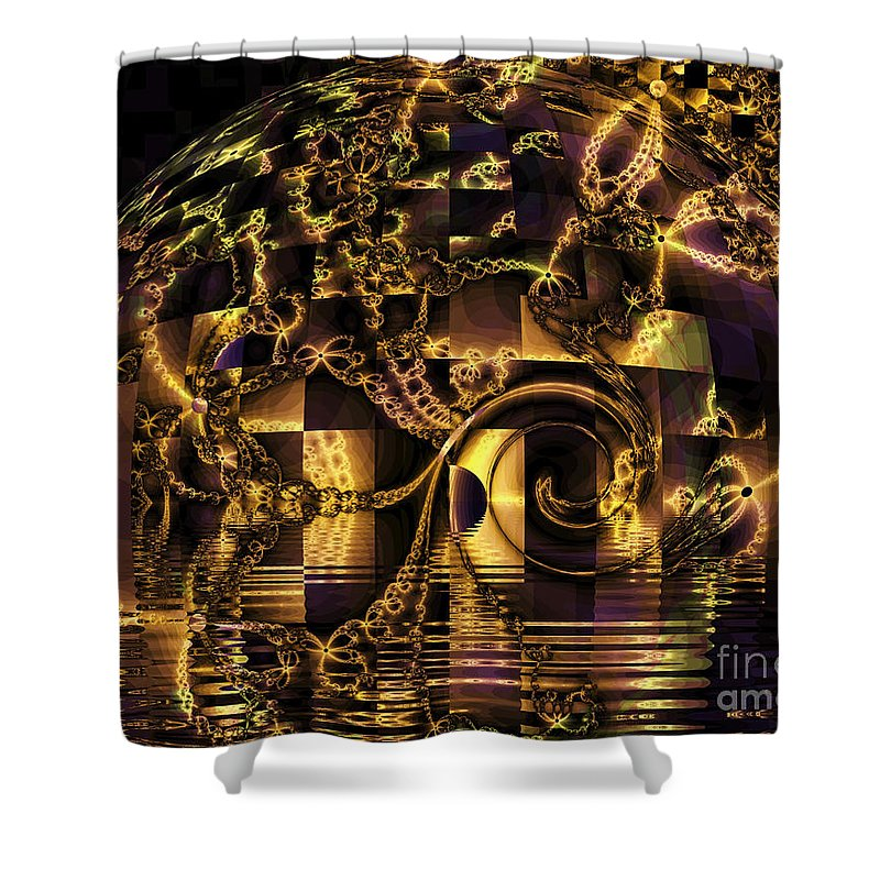 Gold Shower Curtain featuring the digital art Fractal Flooding by Elizabeth McTaggart