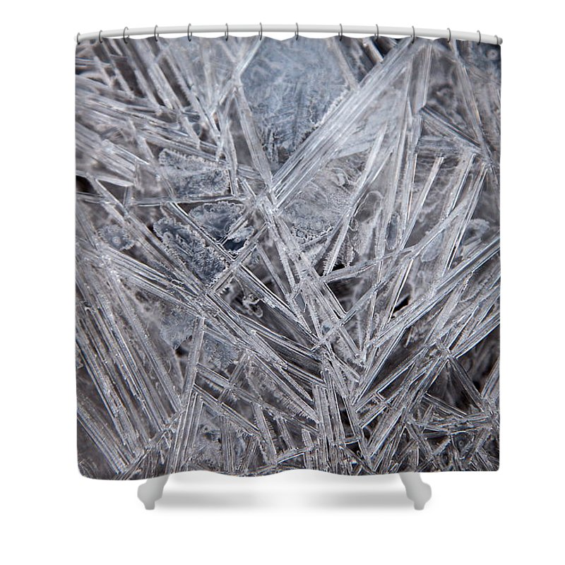 Ice Shower Curtain featuring the digital art Frozen Fractal by Leeon Photo
