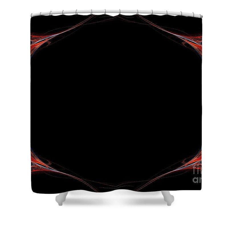 Background Shower Curtain featuring the digital art Fractal Red Frame by Henrik Lehnerer
