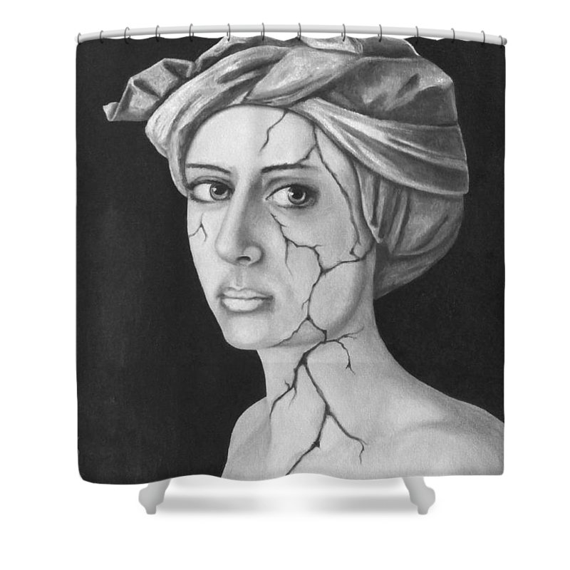 Portrait Shower Curtain featuring the painting Fractured Identity Bw by Leah Saulnier The Painting Maniac