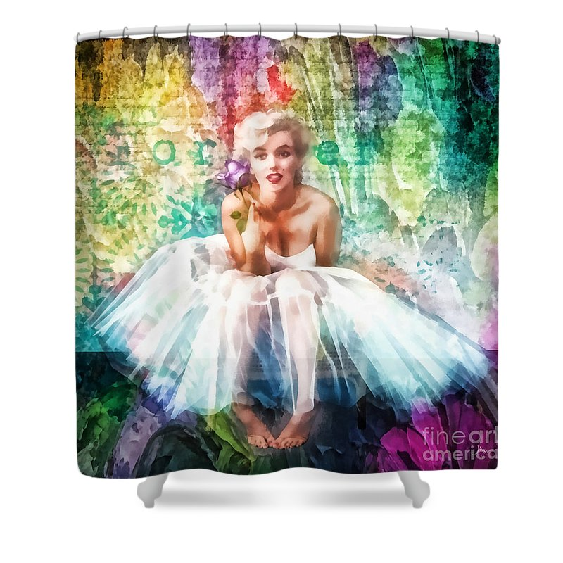 Fragile Shower Curtain featuring the painting Fragile by Mo T