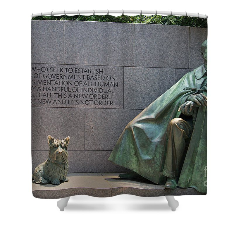 Exterior Shower Curtain featuring the digital art Franklin Delano Roosevelt by Carol Ailles