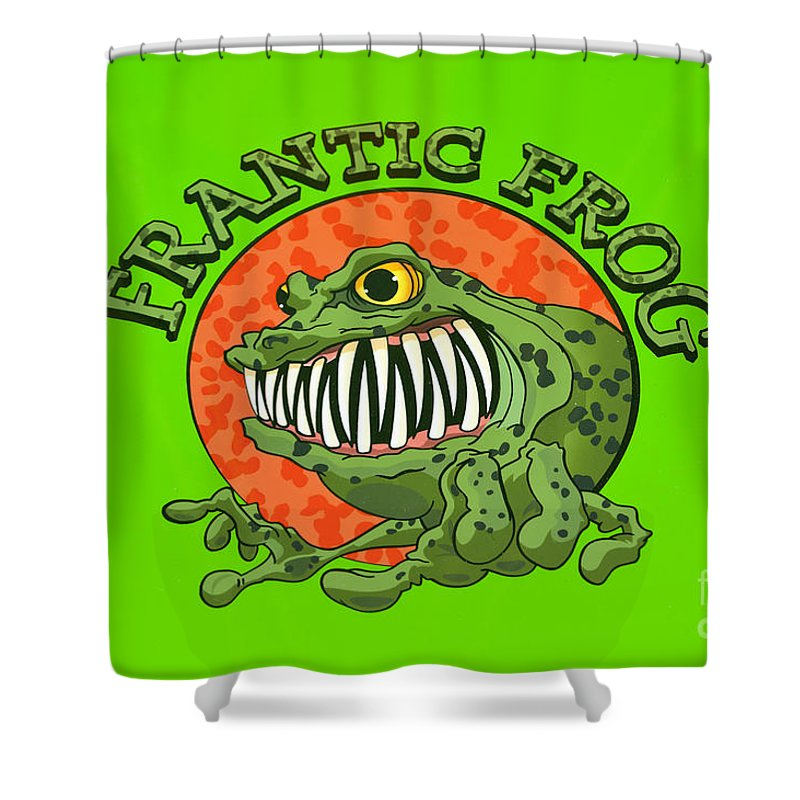 Green Shower Curtain featuring the photograph Frantic Frog by George Buxbaum