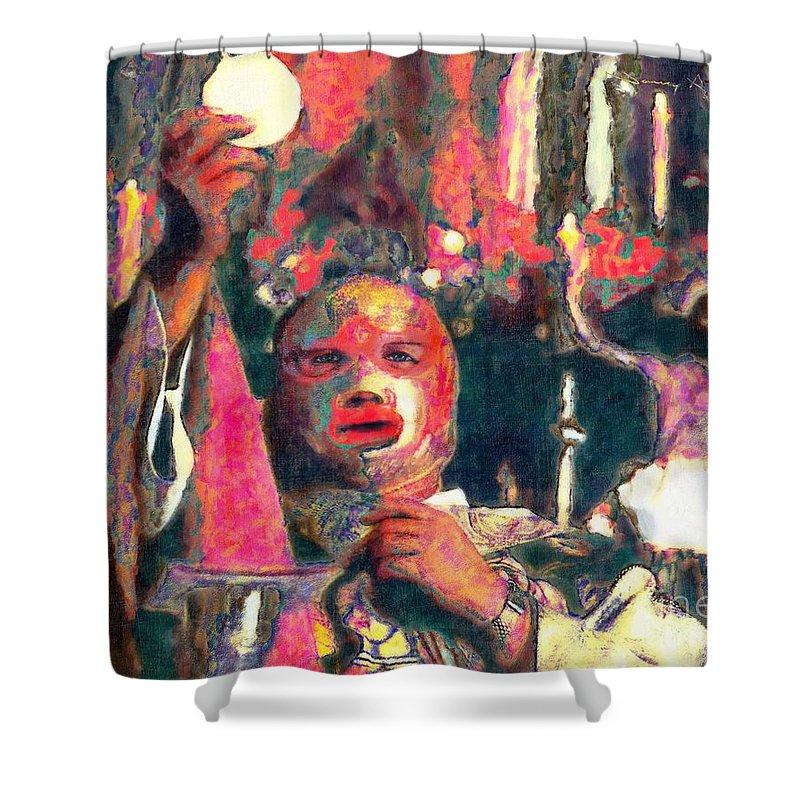 Religion Shower Curtain featuring the digital art Fray Tormenta by Nancy Almazan