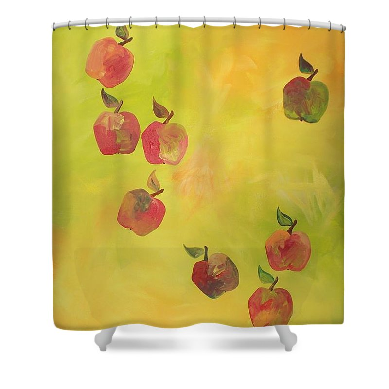 Colors Shower Curtain featuring the painting Free Apples by PainterArtist FIN