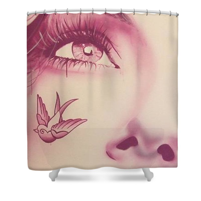 Portrait Shower Curtain featuring the painting Free by Christian Chapman Art