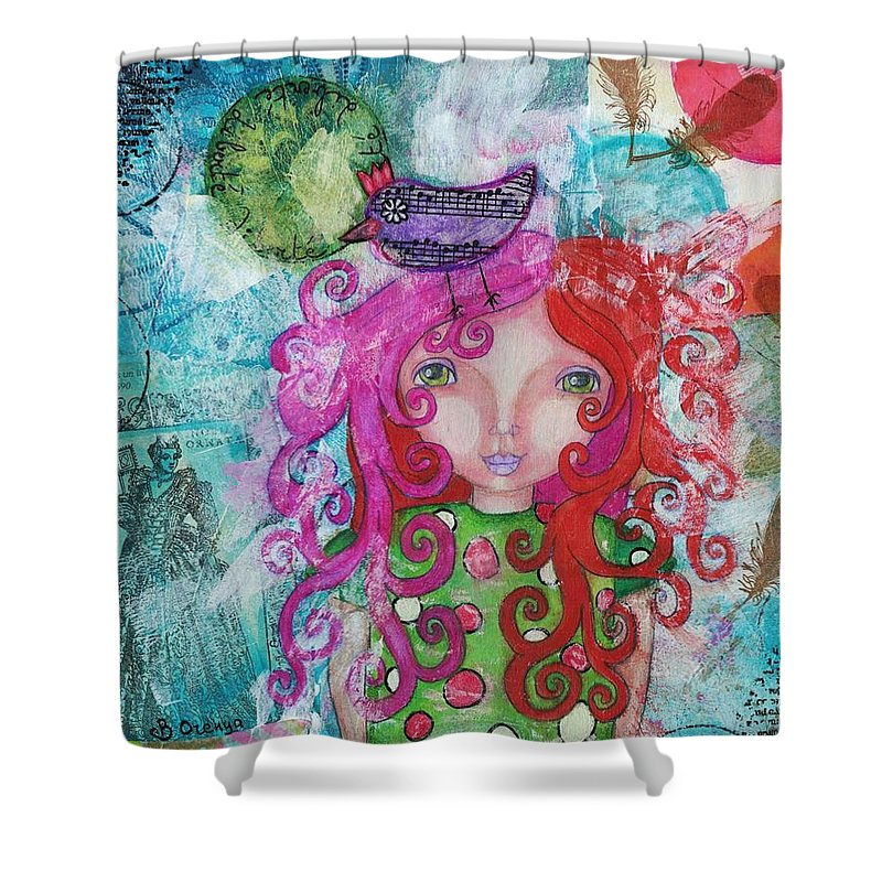 Girl Shower Curtain featuring the mixed media Free Yourself by Barbara Orenya