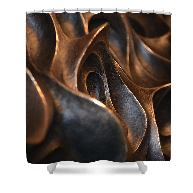 Metal Shower Curtain featuring the photograph Freeform Metal by Nadalyn Larsen