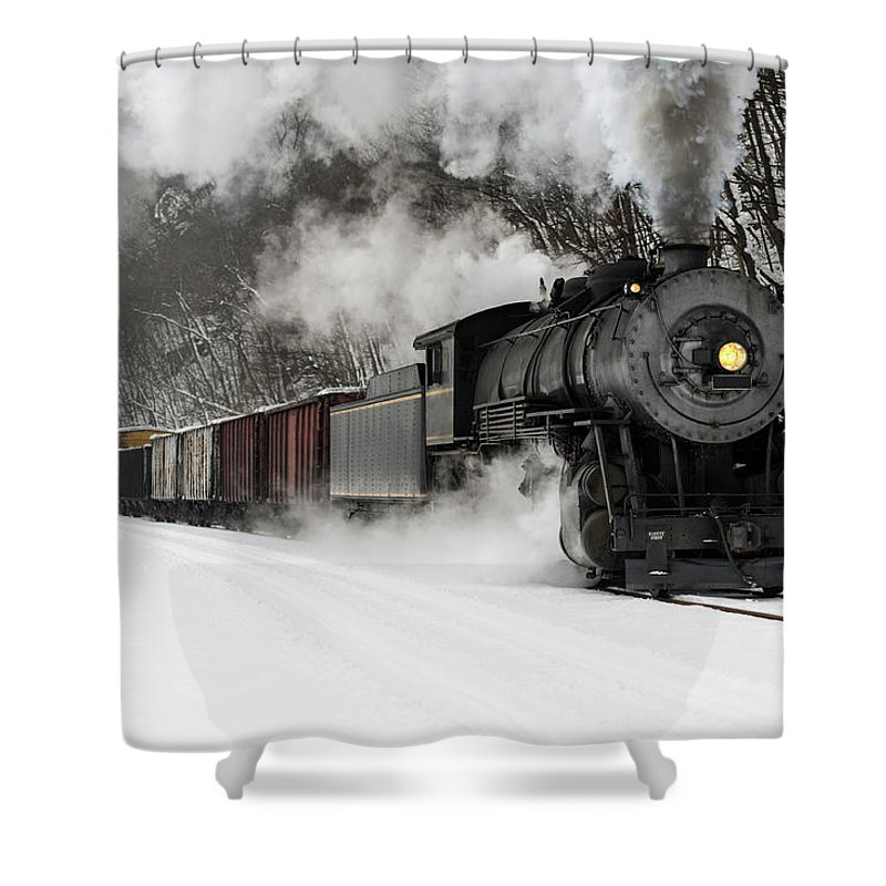 Scenics Shower Curtain featuring the photograph Freight Train With Steam Locomotive by Catnap72