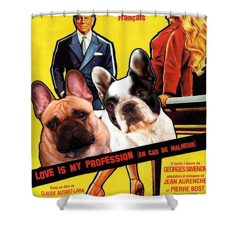French Bulldog Art Love Is My Profession Movie Poster Shower Curtain For Sale By Sandra Sij