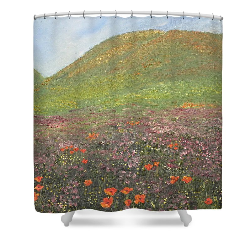 Landscape Shower Curtain featuring the painting French Countryside by Barbara McDevitt