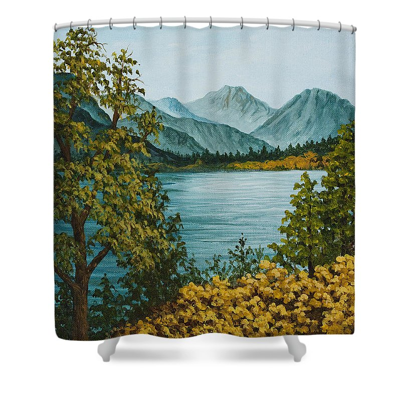 Landscape Shower Curtain featuring the painting Frenchmans Lake by Darice Machel McGuire
