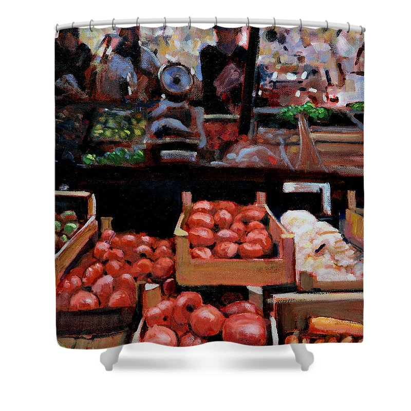 Cityscape Paintings Paintings Shower Curtain featuring the painting Fresh Fruits And Vegetables by David Zimmerman