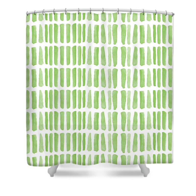 Grass Shower Curtain featuring the painting Fresh Grass- Abstract Pattern Painting by Linda Woods