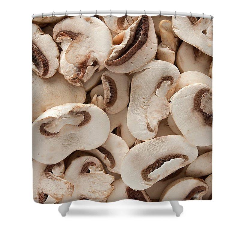 Kitchen Shower Curtain featuring the photograph Fresh Mushrooms by Steve Gadomski