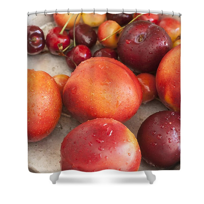 Fresh Fruit Shower Curtain featuring the photograph Fresh Nectarines Plums And Cherries by Rich Franco