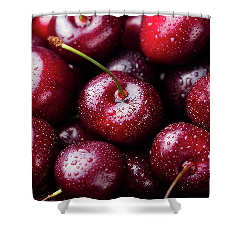 Cherry Shower Curtain featuring the photograph Fresh Ripe Black Cherries Background by Anna Pustynnikova