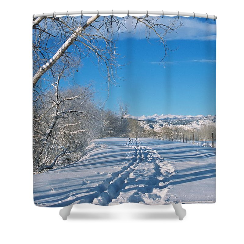 Boulder Shower Curtain featuring the photograph Fresh Tracks by Eric Glaser
