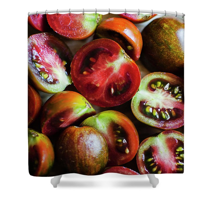 Tranquility Shower Curtain featuring the photograph Freshly Cut Tomatoes by Jamie Grill