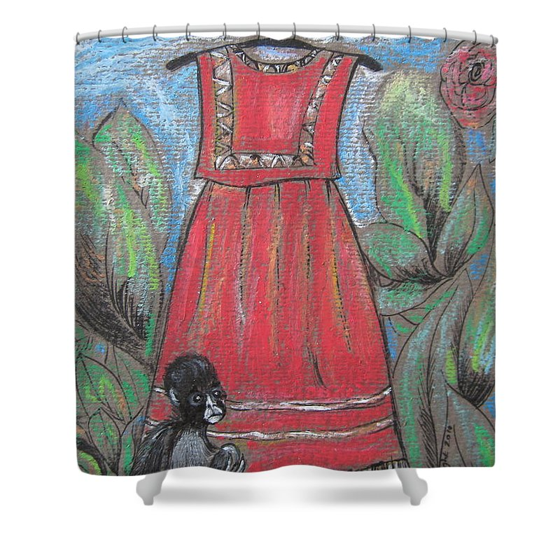 Frida Kahlo Shower Curtain featuring the painting Frida Homage II by Sue Wright