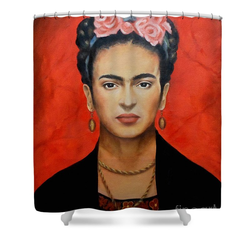 Frida Shower Curtain featuring the painting Frida Kahlo by Yelena Day