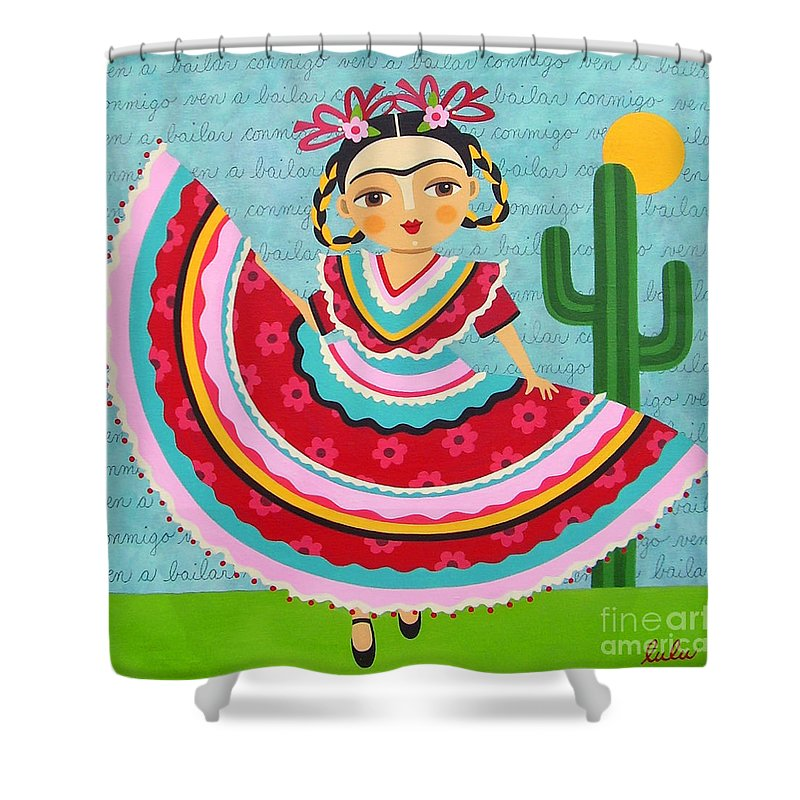 Frida Shower Curtain Featuring The Painting Kahlo In Traditional Dress By LuLu Mypinkturtle