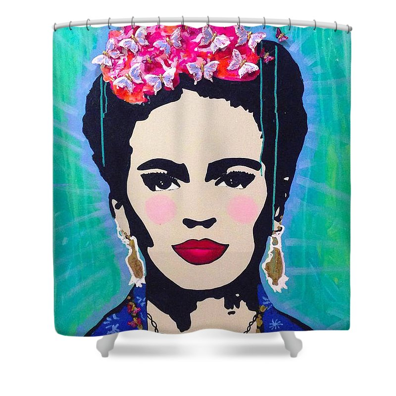 Frida Kahlo Shower Curtain Featuring The Painting Mariposas By Paola Gonzalez