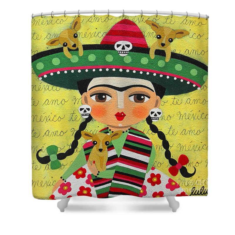 Frida Shower Curtain Featuring The Painting Kahlo With Sombrero And Chihuahuas By Lulu Mypinkturtle