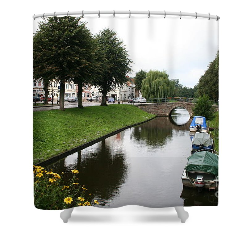 Town Canal Shower Curtain featuring the photograph Friedrichstadt - Germany by Christiane Schulze Art And Photography
