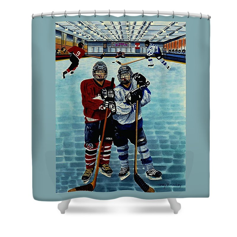 Friends Shower Curtain featuring the painting Friends And Foes by Joy Bradley