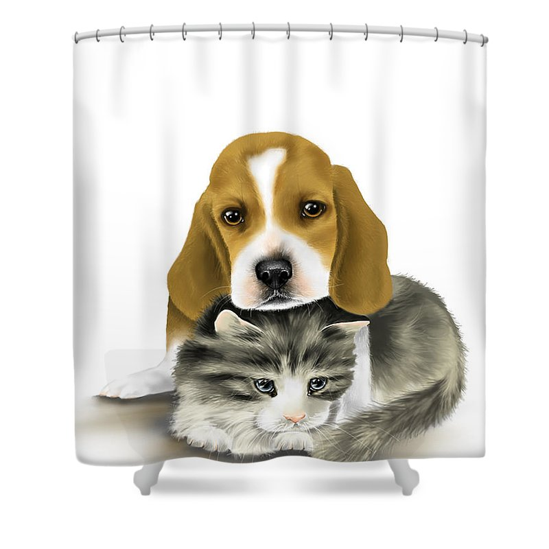 Digital Shower Curtain featuring the painting Friends by Veronica Minozzi