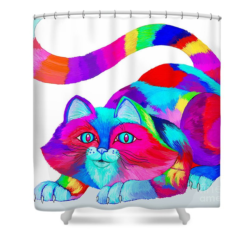 Frisky Colorful Cat Shower Curtain For Sale By Nick Gustafson