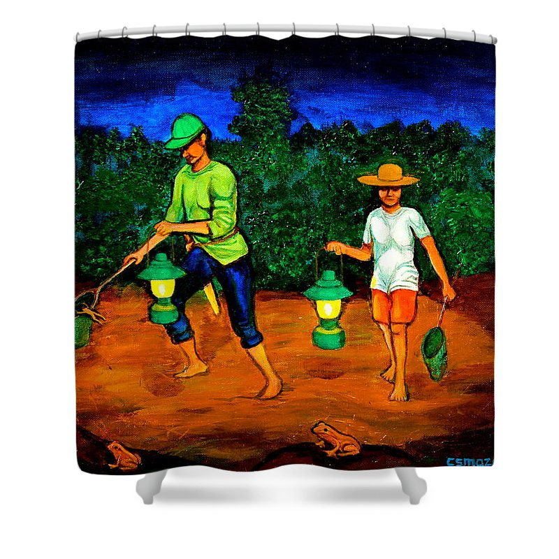 Frog Hunters Shower Curtain featuring the painting Frog Hunters by Cyril Maza
