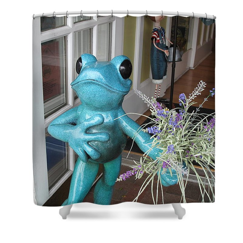 Frog Shower Curtain featuring the photograph Frog Suitor by Barbara McDevitt