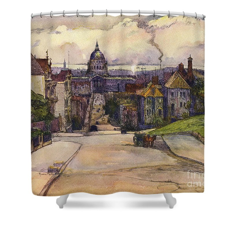 Hilltop Shower Curtain featuring the photograph From A Hilltop In San Francisco By Rowena Meeks Abdy Early California Artist C 1906 by California Views Archives Mr Pat Hathaway Archives