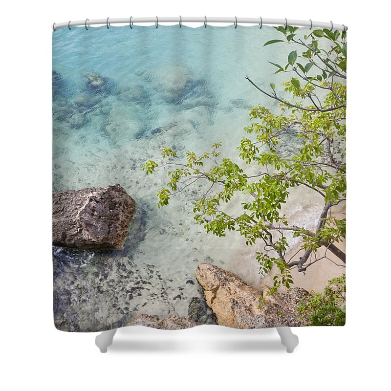 Anguilla Shower Curtain featuring the photograph From Above by F Innes - Finesse Fine Art