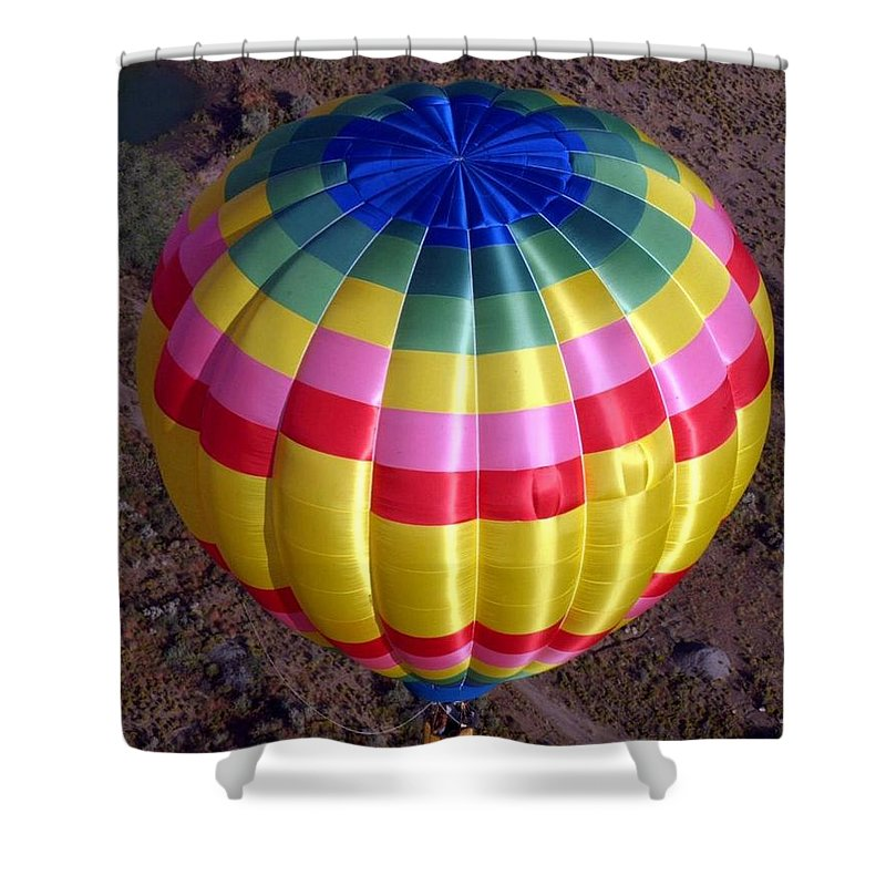 Hot Air Balloon Shower Curtain featuring the photograph From Above by Mary Rogers