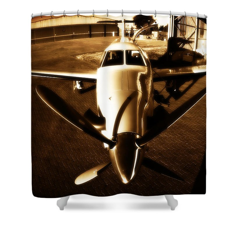 Pilatus Pc 12 Shower Curtain featuring the photograph From Above by Paul Job