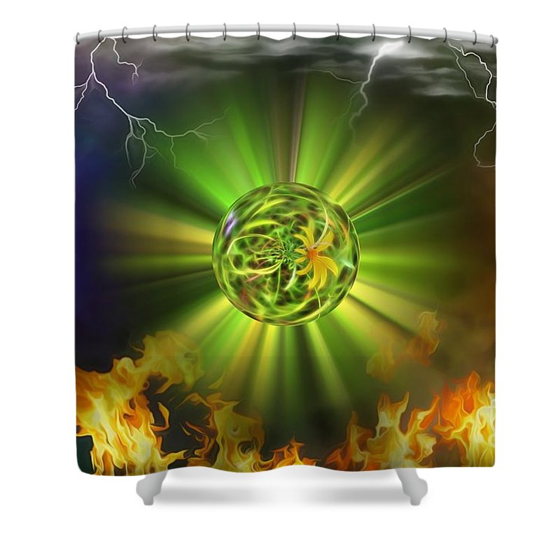 Fire Shower Curtain featuring the photograph From Chaos by Dan Stone