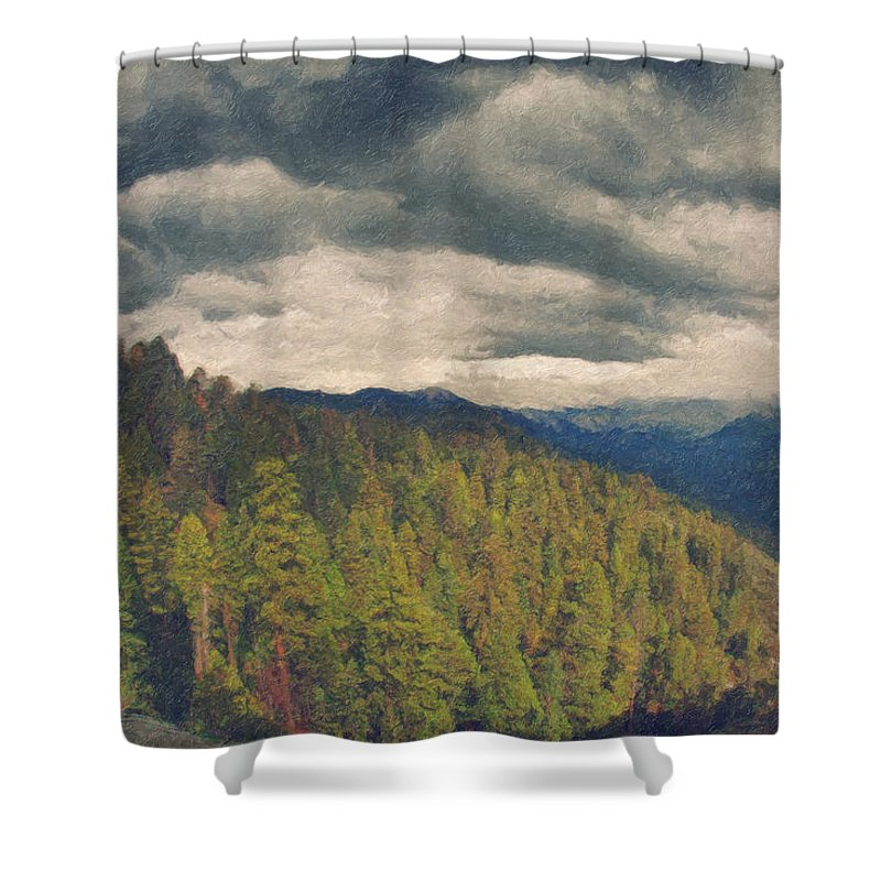 Moro Rock Shower Curtain featuring the painting From Moro Rock Of The Sequoias by Angela Stanton