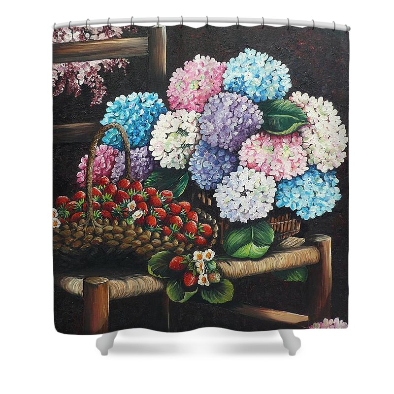 Hydrangea Paintings Floral Paintings Botanical Paintings Flower Paintings Blooms Hydrangeas Strawberries Paintings Red Paintings Basket Paintings Pink Paintings Garden Paintings  Blue Paintings  Greeting Card Paintings Canvas Paintings Poster Print Paintings  Shower Curtain featuring the painting From My Garden by Karin Dawn Kelshall- Best