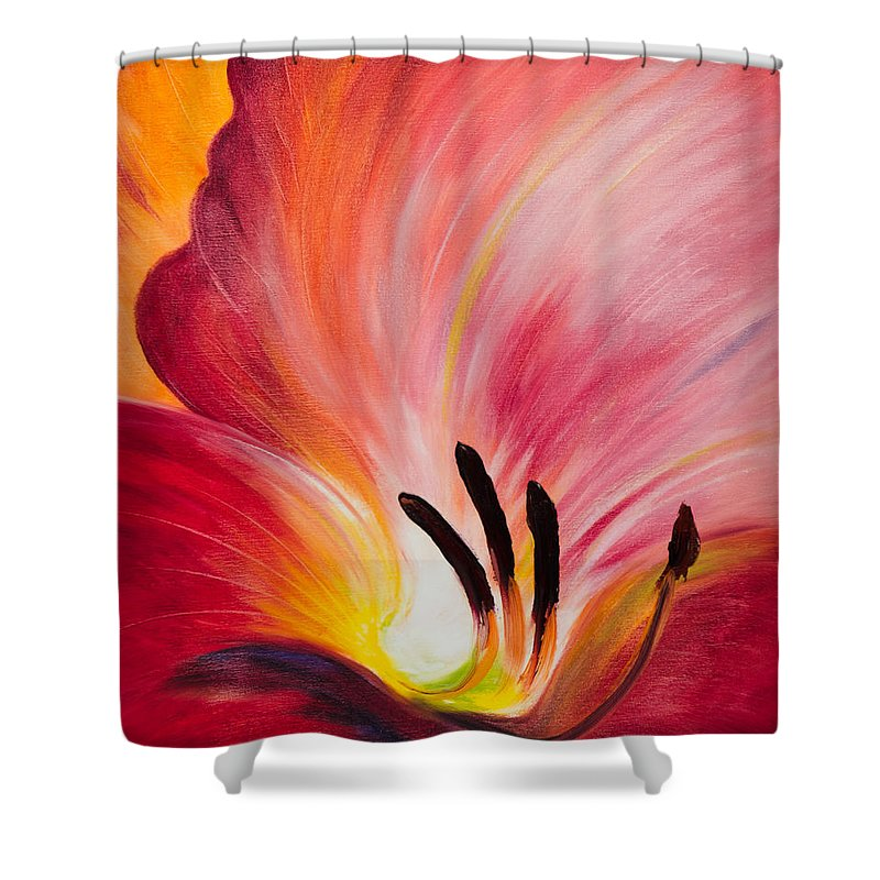 Red Shower Curtain featuring the painting From The Heart Of A Flower Red I by Gina De Gorna