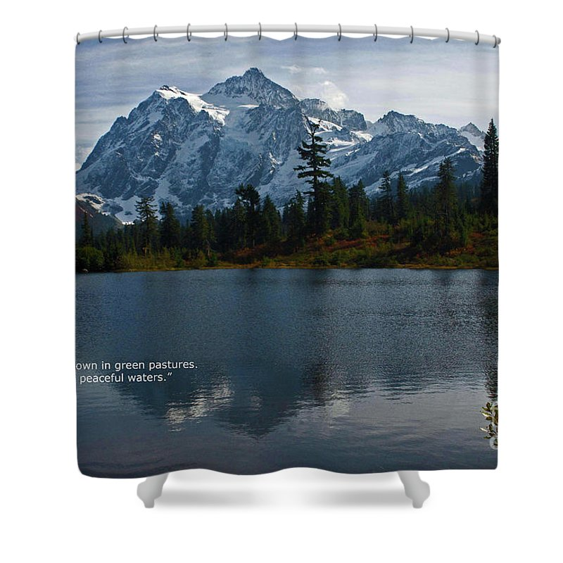 Scripture Cards Shower Curtain featuring the photograph From The Hills by Rod Wiens